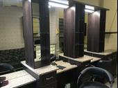 neatly appointed hair salon